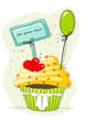 Muffin, Cupcakes mit Ballon und Schild