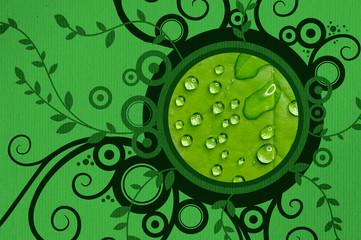 green leaf photoframe with flower