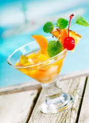 Tropical fruit cocktail appetiser