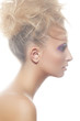 Woman model with big curly bun hairstyle, beautiful neck