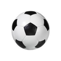 Pallone di cuoio da calcio su fondo bianco