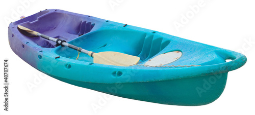 green kayak isolated on white