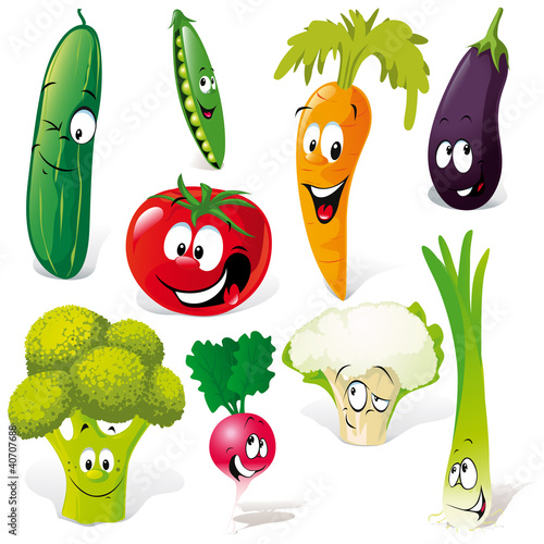 funny vegetable cartoon isolated on white background