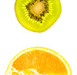 Half of kiwi and orange