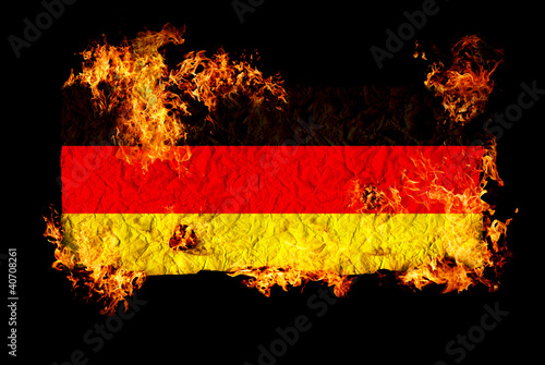 German flag in fire.