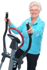 senior woman exercising on stepper
