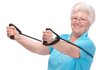 senior woman at gym