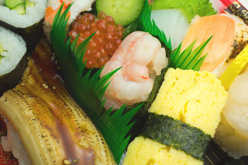 Japanese sushi , traditional japanese food