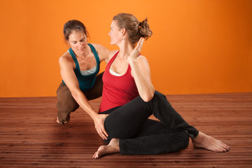 Yoga Coach With Student