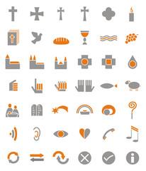 42 christliche Symbole als icon, button