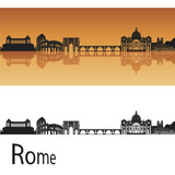 Fototapety Rome Skyline in orange background