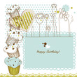 Birthday greeting card with cupcakes
