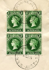 Canceled australian stamps