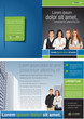 Green and blue template for advertising with business people