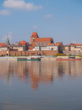 Panoramic view of old town of Torun, Poland across Wisla river