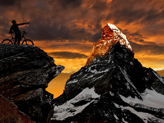 biker in the Swiss Alps