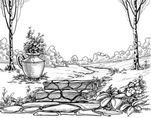 Stone stairs in the park pencil drawing