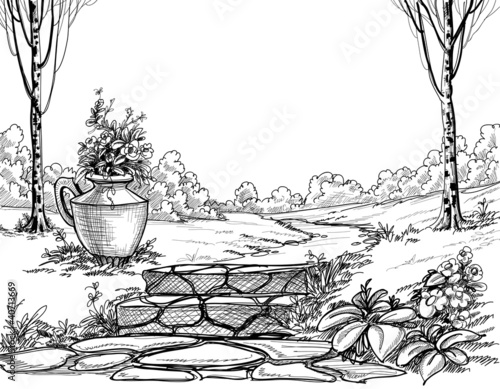 Stone stairs in the park pencil drawing - 40713669