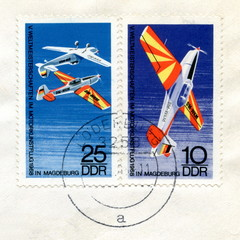 "Canceled german stamps ""Air sport"""