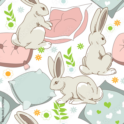 Cute rabbits go to sleep, seamless pattern for children - 40713822