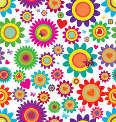 Spring flowers - seamless vector pattern