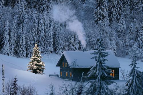 Fototapete Hutte Winter Hutte Schuppen Weihnachten Pixteria
