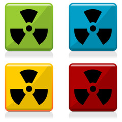 Radioactivity sign buttons with four different colors