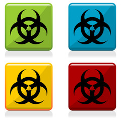 Biohazard sign buttons with four different colors