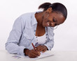 South AFrican woman filling in a form.