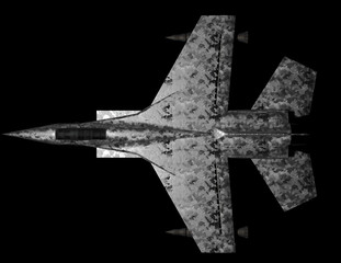 Jet fighter top view - isolated