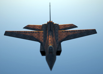 Jet fighter with sky background