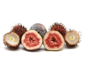exotic fruits compilation: rambutan and fig