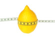 Lemon tied meter. Diet. On a white background.