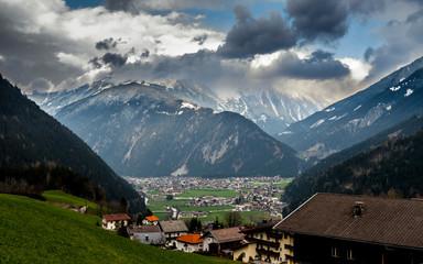 Village in alpine valley