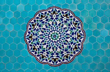 Islamic mosaic pattern with blue tiles