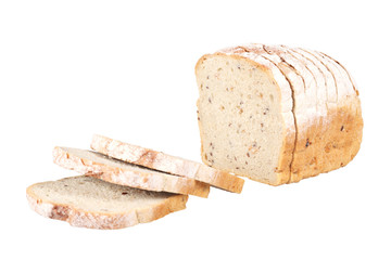 Sliced loaf of spelled bread with clipping path.