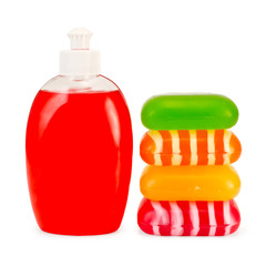 Soap liquid red and stack solid soap