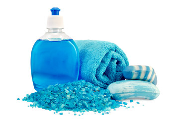 Soap different blue with a towel and salt bath