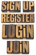 login, register, join, sign up