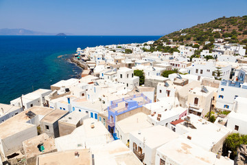 Panorama of town Mandrake on Nissiros island, Greece