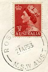 """Canceled australian stamp """"Queen Elizabeth II"""""""