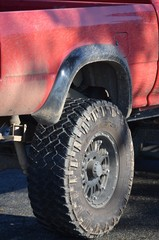 Off-road tyre on truck