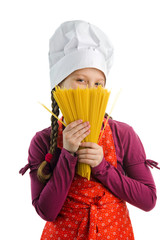 Chef with spaghetti