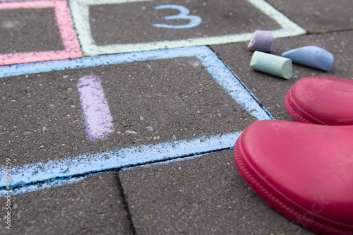 Hopscotch and Sidewalk Chalk