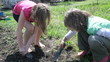 elementary kids working, digging, helping in garden