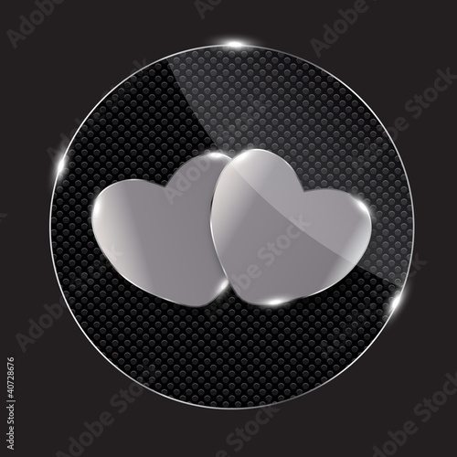 Heart glass Button vector illustration