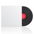 Vector illustration of vinyl record in envelope with space for y
