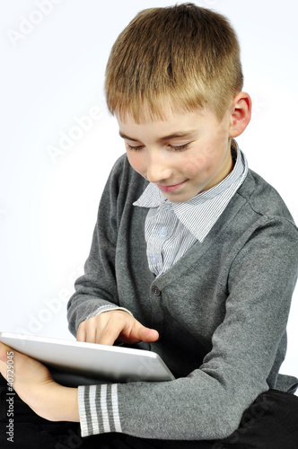 Boy with touch pad
