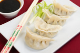 Jiaozi - Chinese dumplings with pork & spring onions. Dim Sum