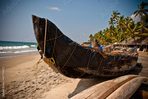 Wooden boat at the beach